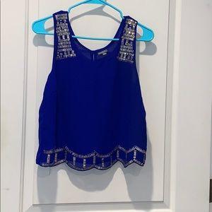 Deep blue crop top blouse w/gold embellishments.